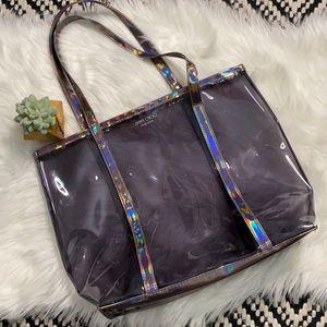 Jimmy Choo iridescent hologram plastic tote/purse